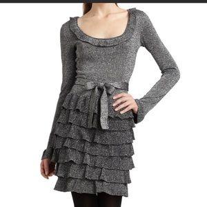 BCBG 'Cassie' silver metallic knit dress